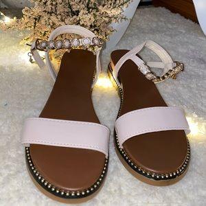 Rhinestone decor ankle strap sandals 👡